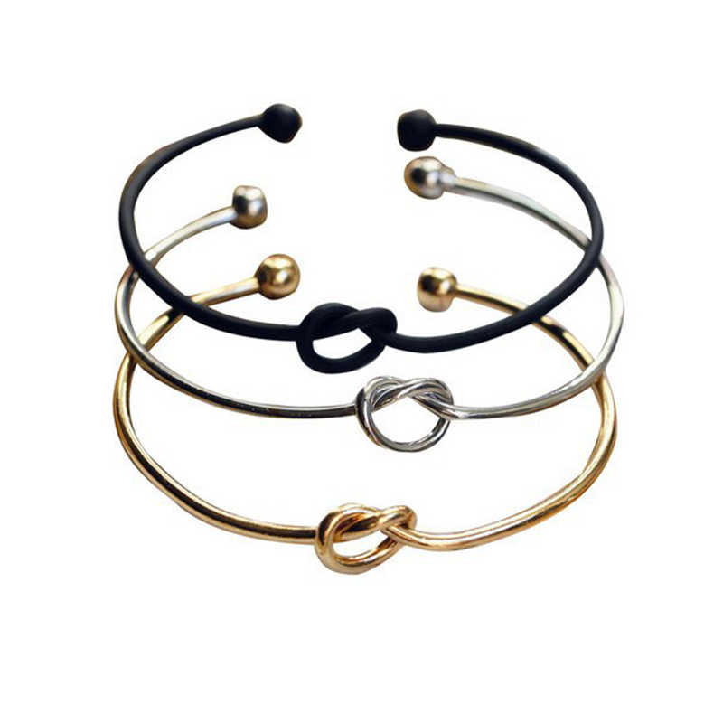 ISINYEE Fashion Heart Knot Wire Open Bangle Women Mens Wristband Cuff Cable Bracelets Manchette Jewelry Valentine's Day Gifts