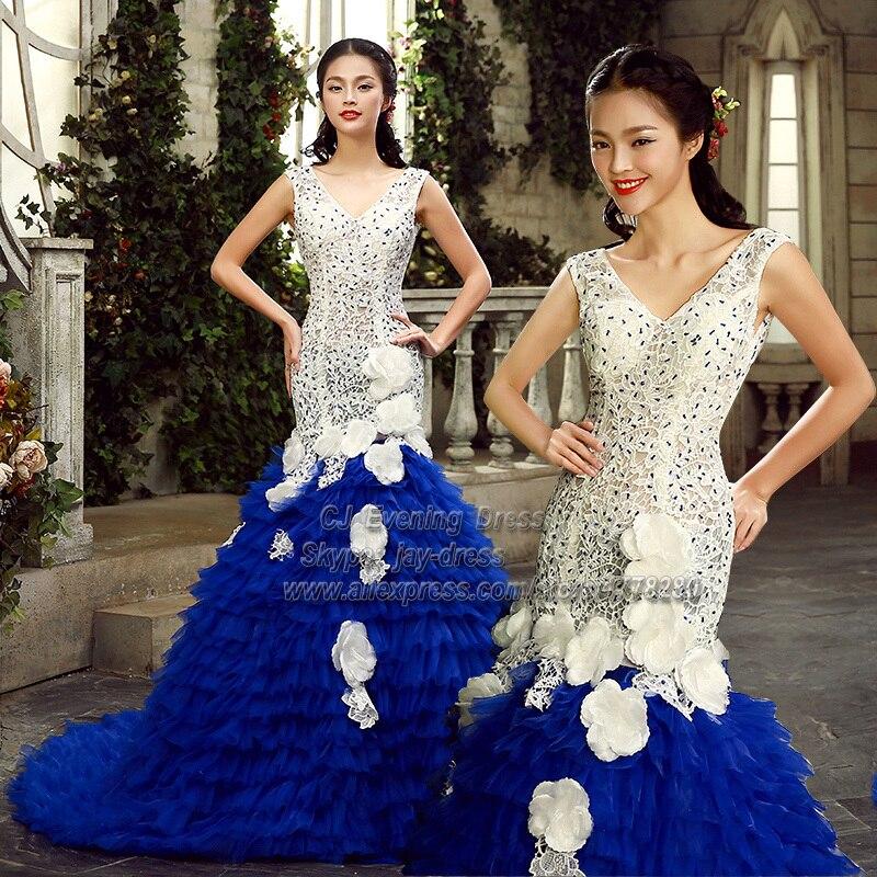 Dubai Luxury Great Gatsby Royal Blue Mermaid Dress Saia Social Wedding Guests Party Over Income