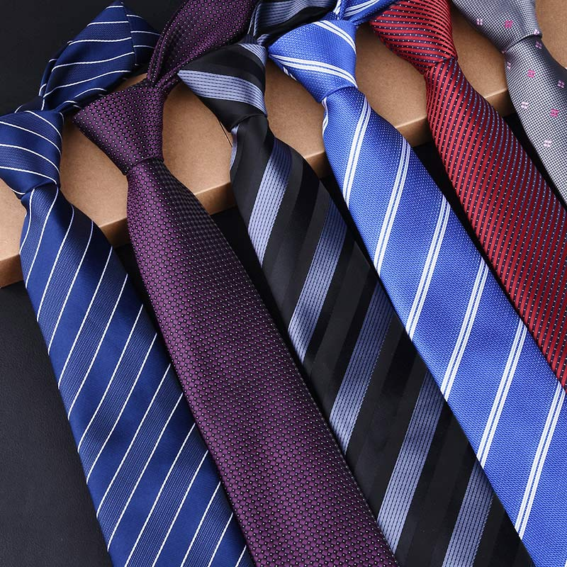 Man's New Classic Ties 7cm Striped Polyester Woven Black Blue Red Orange Tie Business Wedding Party Casual Necktie