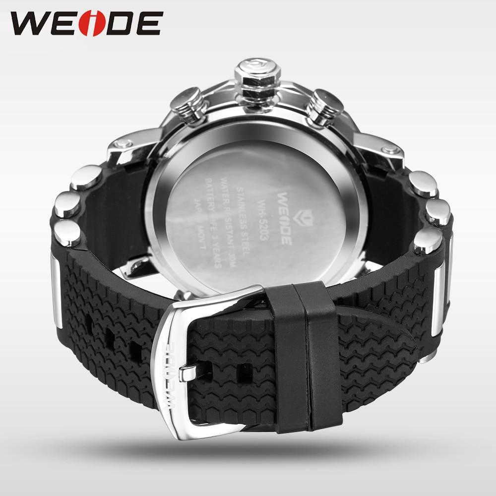 WEIDE Unique Red Black Mens Digital Dual Time Watch Acero inoxidable - Relojes para hombres - foto 6