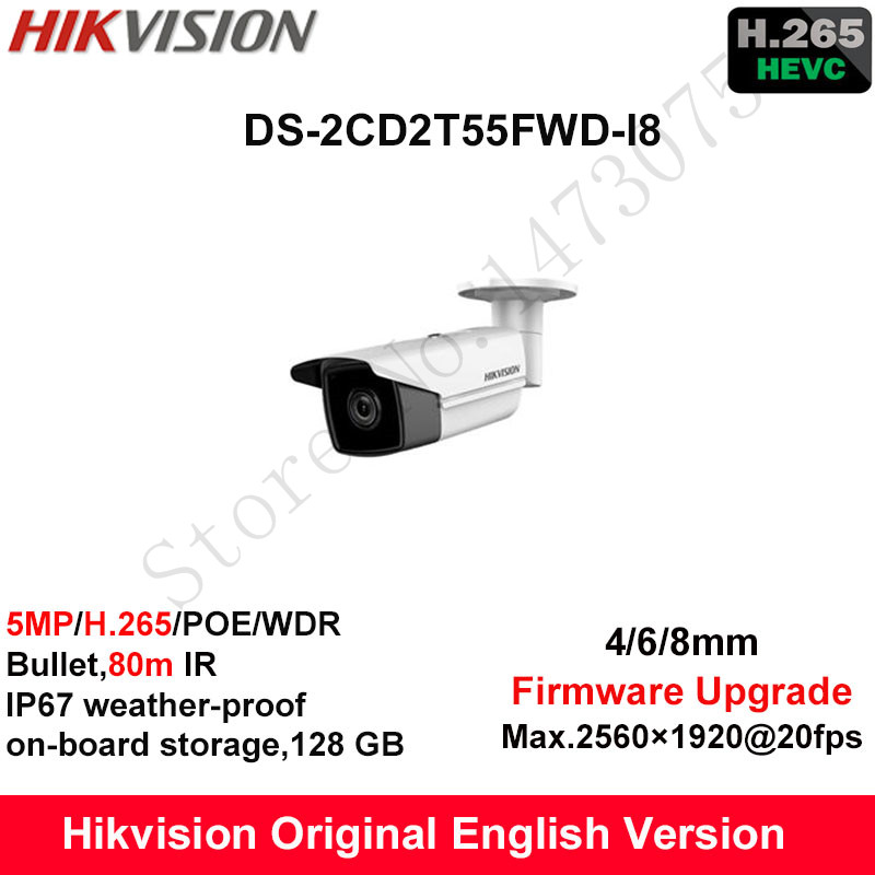 Hikvision English Security Camera DS-2CD2T55FWD-I8 5MP H.265+Bullet CCTV Camera WDR IP Camera POE on-board Storage IP67 80m IR hikvision original outdoor cctv system 8pcs ds 2cd2t55fwd i8 5mp h 265 ip bullet camera ir 80m poe 4k nvr ds 7608ni i2 8p h 265