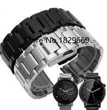 Hombres y mujeres negro 18 mm 20 mm 22 mm 24 mm de Metal de acero inoxidable venda de reloj correas de reloj correa pulsera para Motorola inteligente watchTools