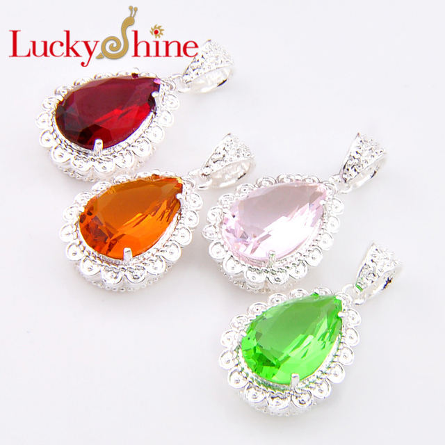 Luckyshine Bulk Mix Color 4pcs Drop Fire Red Created Kunzite Silver Plated Pendants Russia Usa Canada
