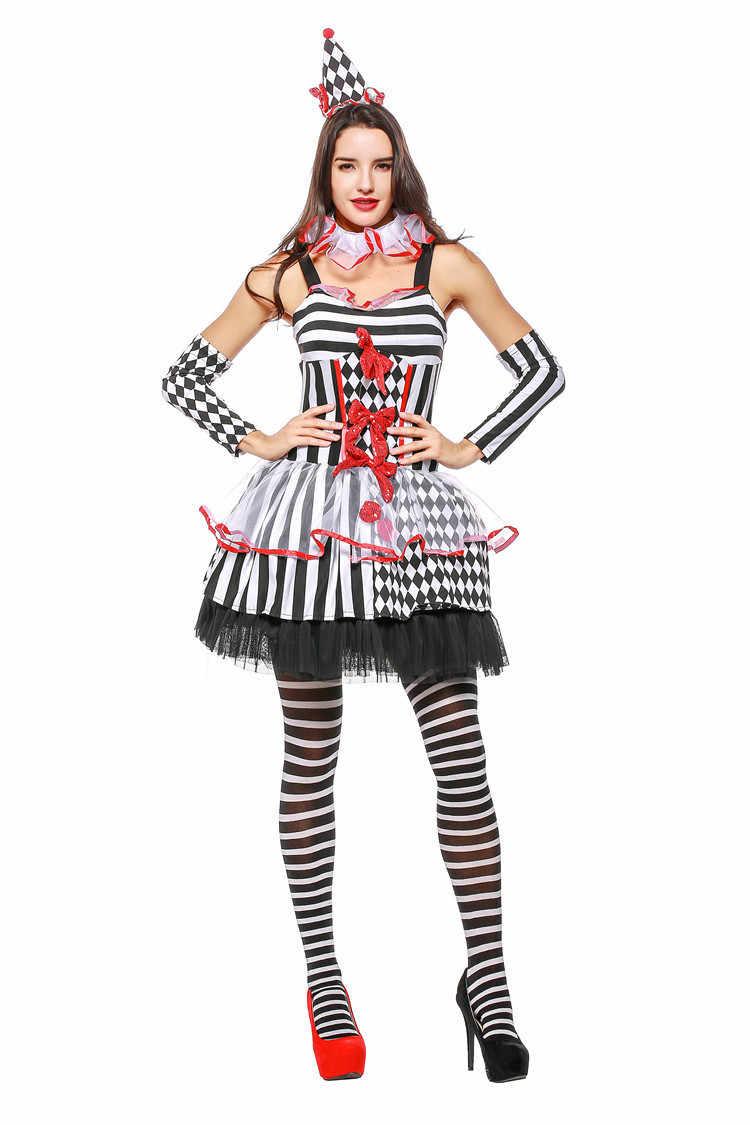 f66dc6198950f Halloween Female Sexy Clown Circus Costume Girl Naughty Harlequin Fancy  Dress Stripe Dresses Uniform