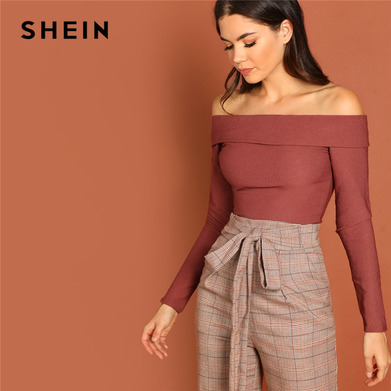 SHEIN Rust Going Out Highstreet Off the Shoulder Foldover Front Off Shoulder Fitted Tee Autumn Women Casual Women Tshirt Top