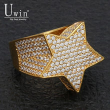 UWIN ห้าจุด Star CZ แหวน Puffed Marine Micro Paved Full Bling Iced Out Cubic Zircon Luxury แฟชั่น Hiphop (China)