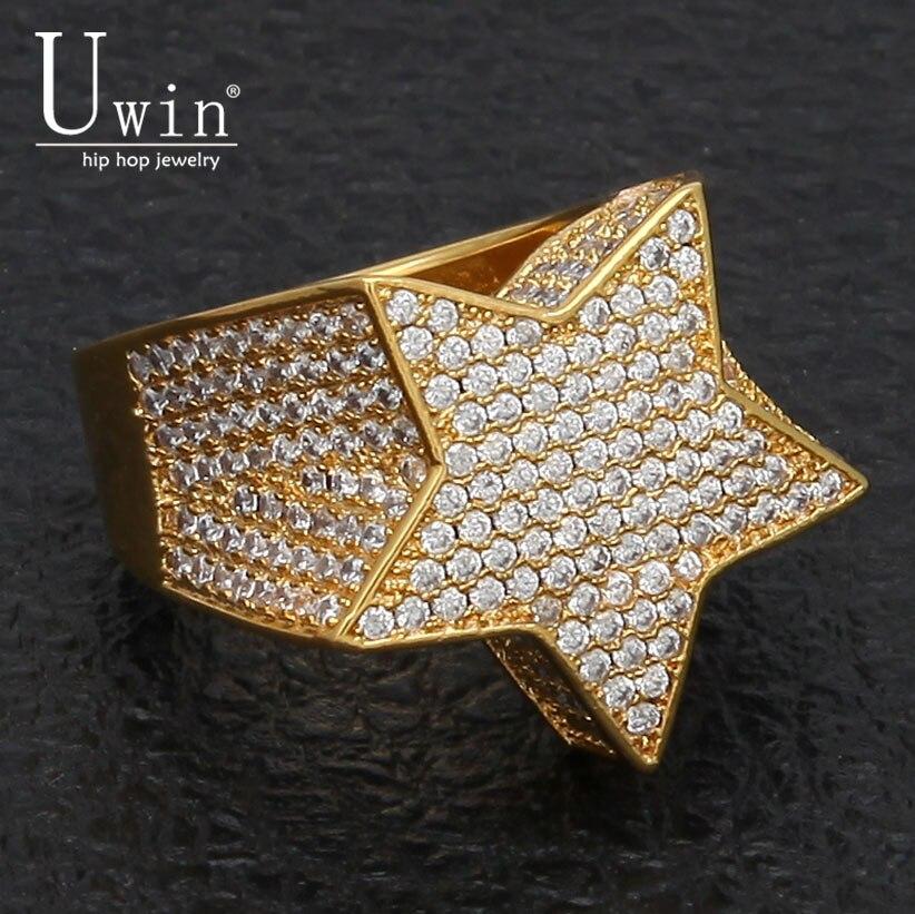 UWIN Five Point Star CZ anillos inflados Marina Micro pavimentado completo Bling helado circonio cúbico lujo moda Hiphop joyería regalo