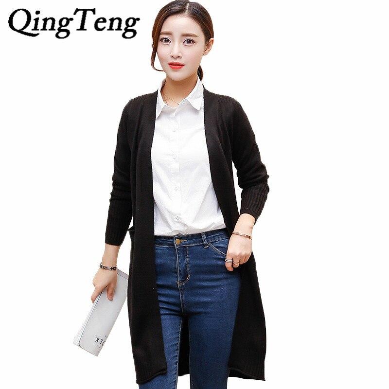 QingTeng Warm Long Cardigan Female Cashmere Knitted Long Sleeve Slim Jacket Wool Women Cardigan Autumn Winter 2017 Poncho