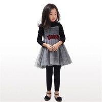 Çocuklar Kız Çiçek Dantel Prenses Mor Elbisesi Tutu Elbise Tam Kollu Çocuk Balo Parti Tasarım Kız Giysi Sonbahar Kış 70C1053