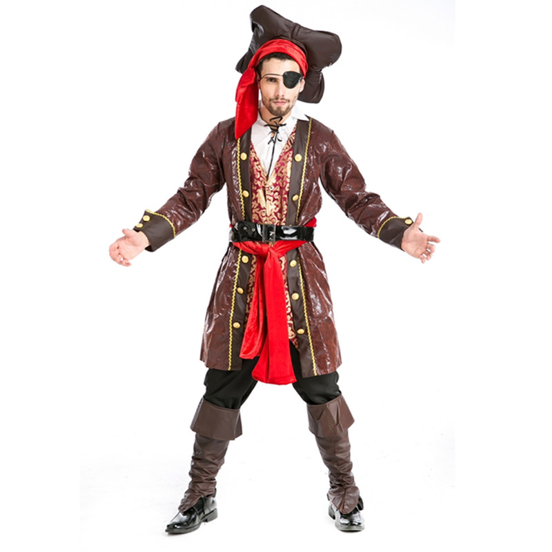 Adult Costume Pirate Men Fashion Suit From Pirate Of The Caribbean For Halloween Costume Cosplay Party cosplay v chest pirate costume w turban eyeshade black