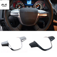 Free shipping ABS material chrome carbon fiber grain car stickers steering wheel decoration cover for Ford FOCUS 3 MK3