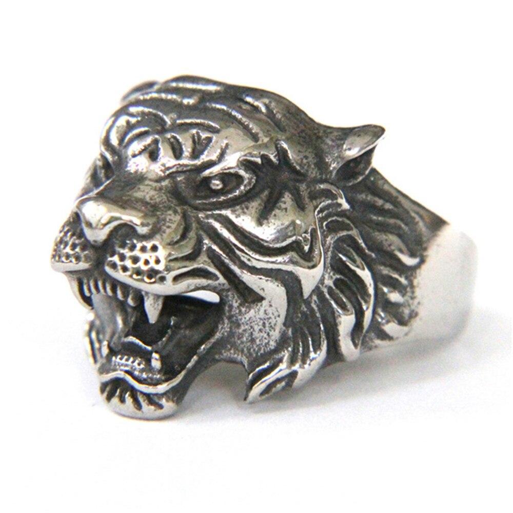 1 pc Support livraison directe taille 7-13 tigre roi anneau 316L en acier inoxydable bijoux hommes garçons Animal tigre anneau