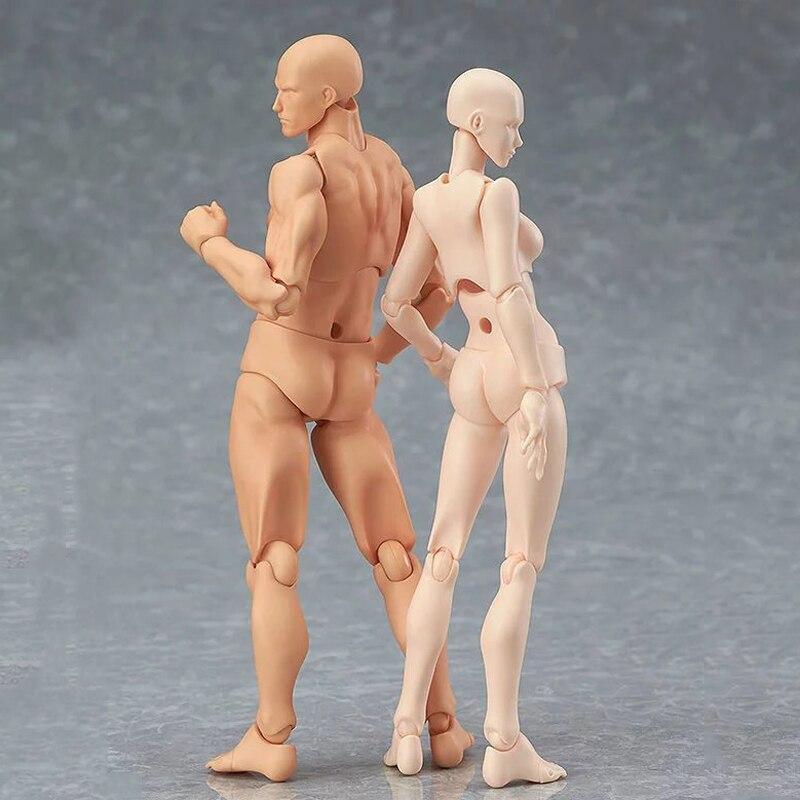 13 cm Action Figure Giocattoli Artista Mobile Maschio Femmina Congiunta figura Modello del corpo Mannequin bjd Arte Schizzo Disegnare figure kawaii figurine