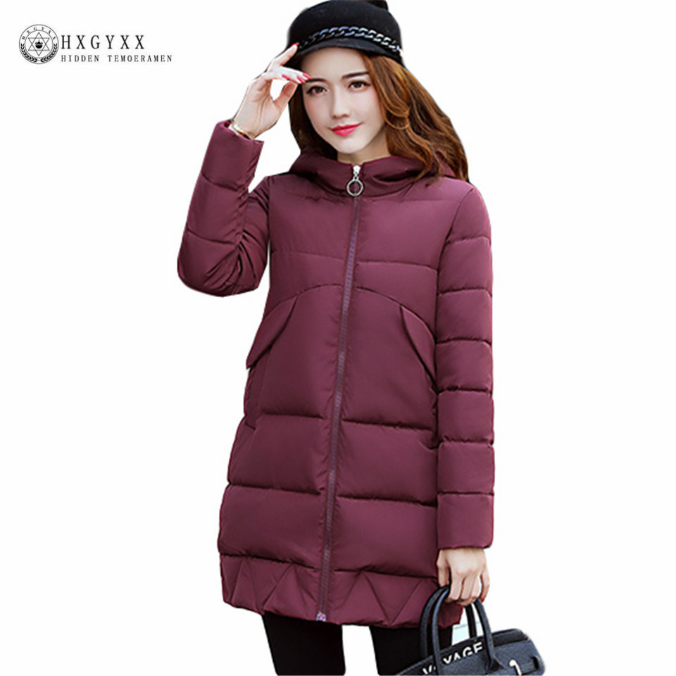 2017 New Long Slim Puffer Jacket Winter Women Coat Hooded Parka Plus Size Cotton-padded Outwear Solid Color Warm Wadded Overcoat купить