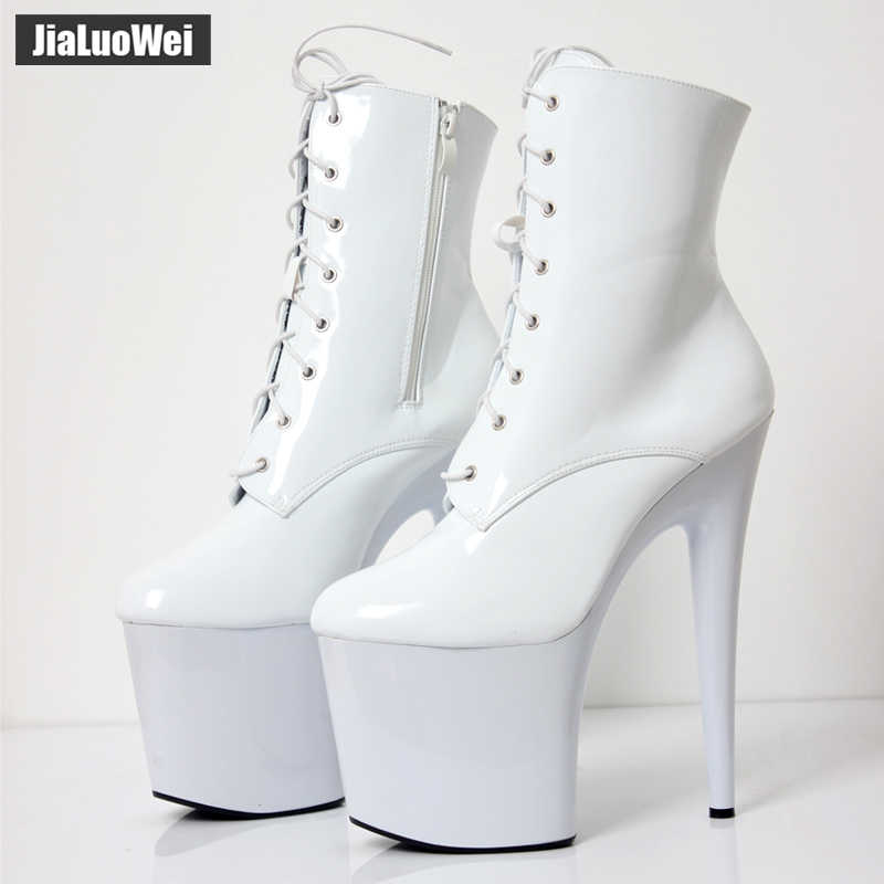 ... jialuowei 2018 New 20CM Super High Heel Platform Lace-up Ankle Boots  Spike Heels Sexy ... eba1a1620e96