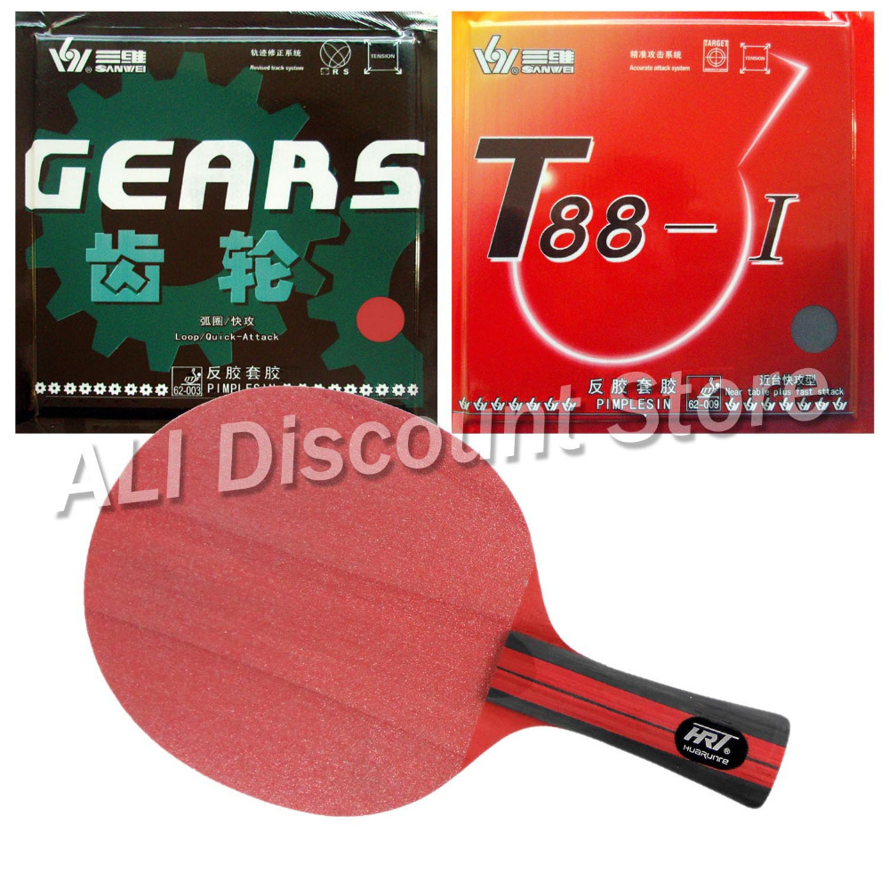 HRT Red Crystal Blade with Sanwei T88-I and GEARS Rubbers for a Table Tennis Combo Racket FL  china hrt