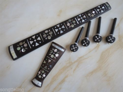 Fingerboard /peg 4/4 With The Best Service Violin Part,natural Mother Of Pearl Inlaid On Tailpiece Musical Instruments