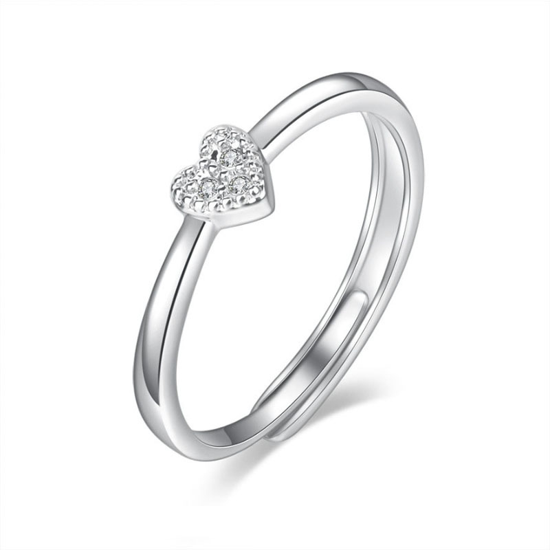 New Trendy Delicate Silver Color Zircon Heart Love Rings For Women Adjustable Engagement Finger Ring Ladies Jewelry 2020