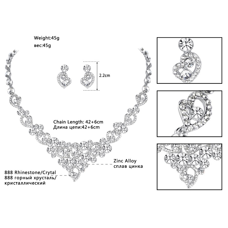 Mecresh Crystal Bridal Jewelry Sets Heart Shape Wedding Necklace Earrings African Beads Jewelry Sets Accessories TL310+SL285 3