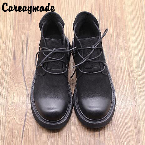 Careaymade New Genuine leather retro round head short boots female literature and art rubbing flat bottom