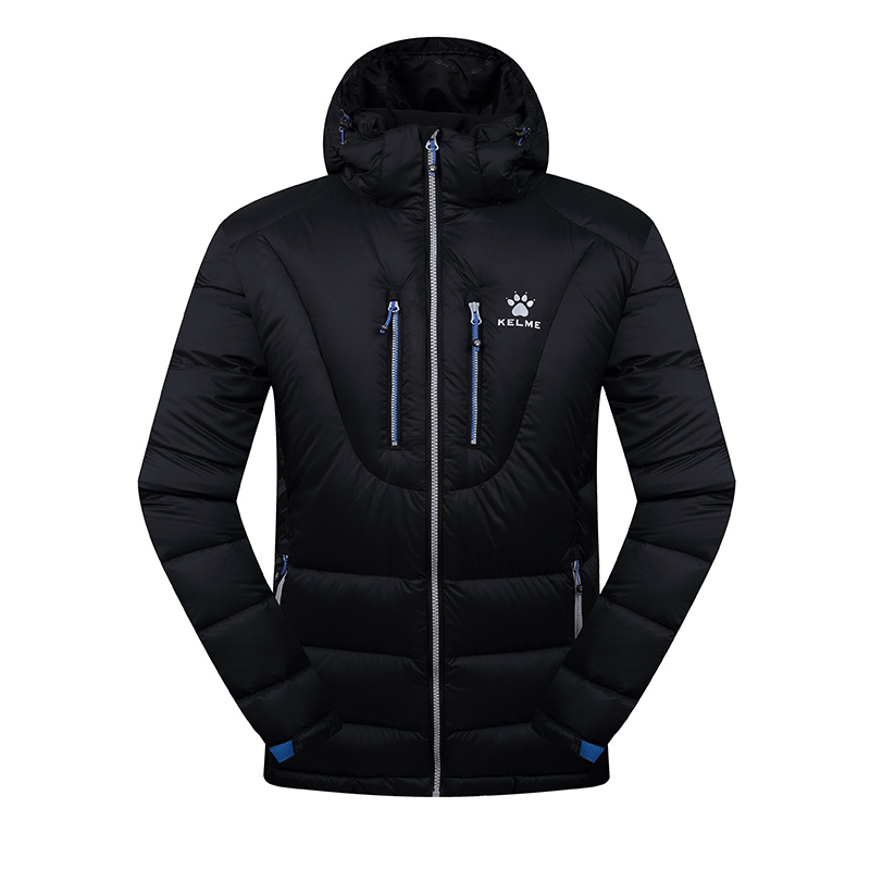 Kelme K46C5037 Men Long Sleeve Hooded Windproof Keep Warm Cotton Outdoor Sport Medium-long Down Jacket Black