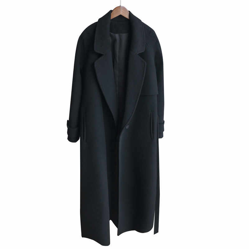 Winter women cashmere wool jacket 2018 new fashion medium long loose woolen coat black slim long-sleeved woolen outerwear DT0175