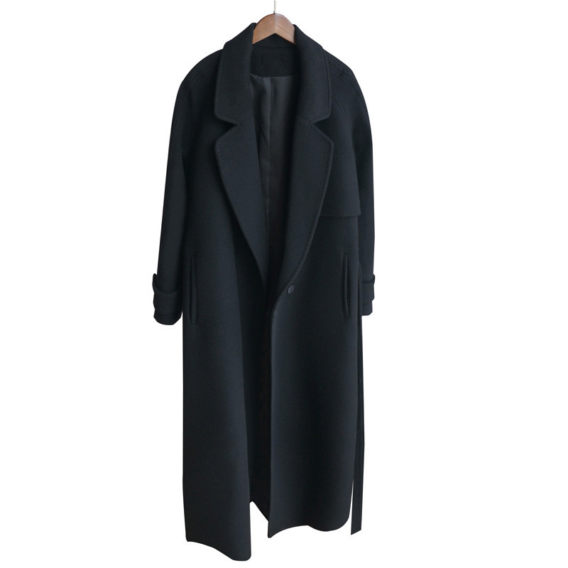Long Thick Veste De Cachemire Survêtement black Manches Manteau Laine Dt0175 Lâche Hiver Moyen Longues 2018 Nouvelle Noir Mince Black Mode Femmes À vR18tx