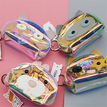 Korea Holographic transparent jelly Dog purse women cute pink wallet small fresh girls coin bag mini Key Chain handbag