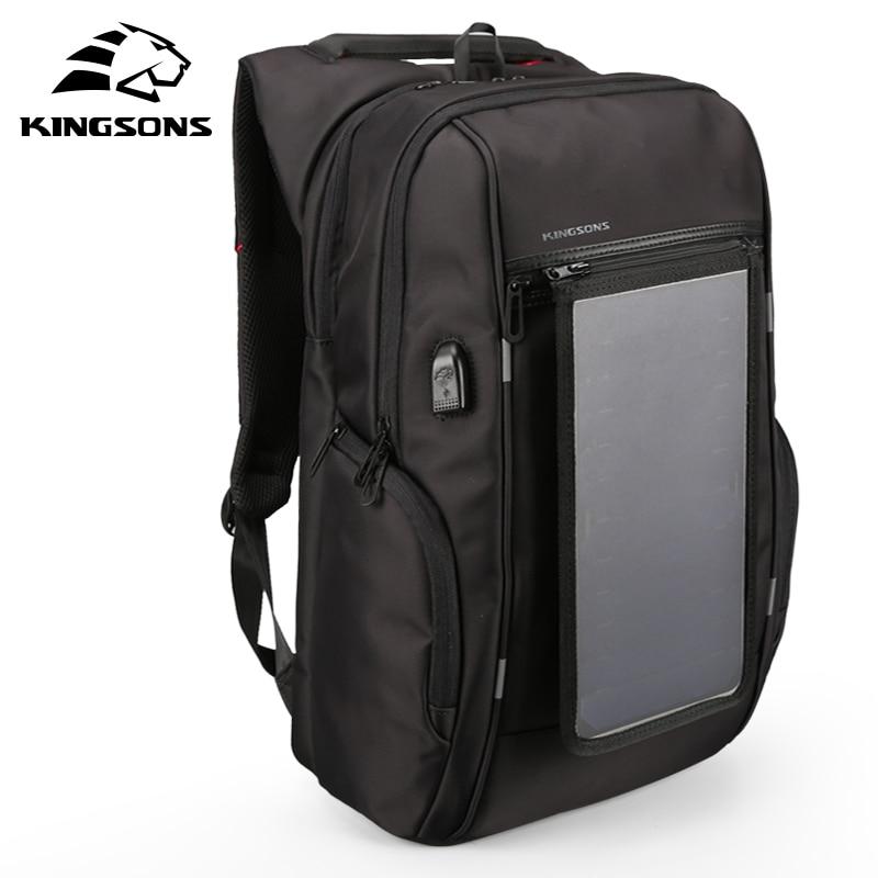 Kingsons 2018 Solar Panel New Men Backpack Male Fashion Laptop Bag Travel Business Work Best Backpack Male Mochila Bagpack Pack все цены