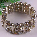 "Free Shipping New without tags Brown Crystal Faceted Beads  Stretch Bracelet 7""  1Pcs RH614"