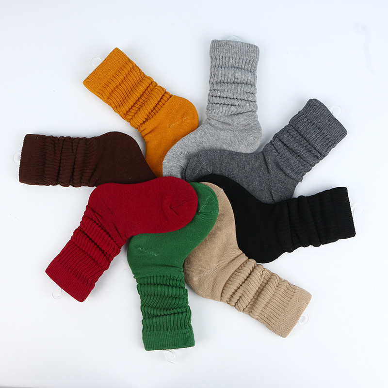 2019 Girls socks Autumn New Solid Color Wild Cotton Children's Short Socks Boy And Girl Piled Up Sock 1-11Y