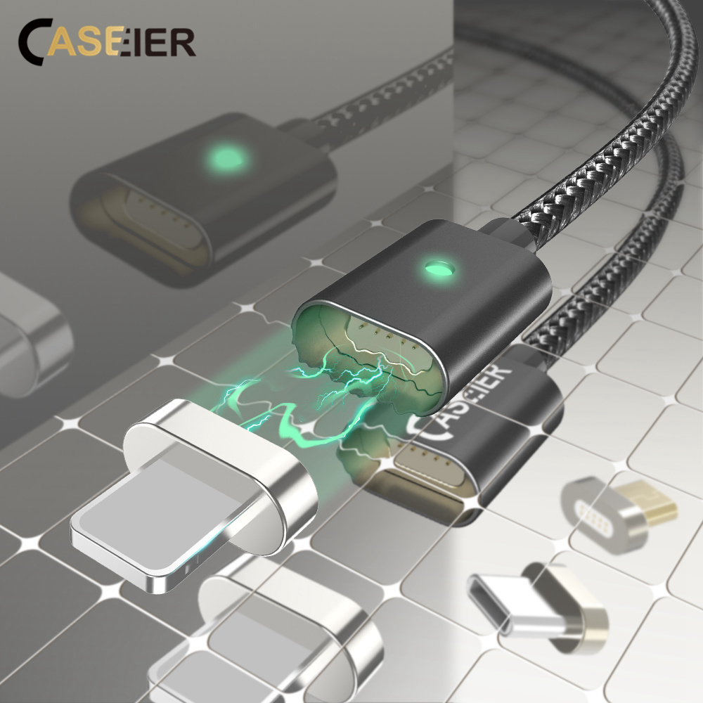 CASEIER Magnet Cable For iPhone X 7 8 6 + Micro USB Cable For iPad Android Magnet Charger Fast Charging Phone Cables Kabel Cabo