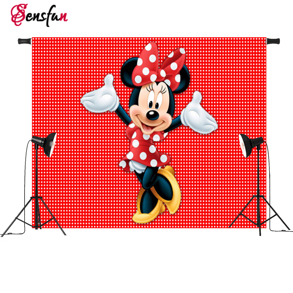 Vinyl Red Minnie Mouse Dance Polka Dots  Custom Photo Studio Background photography Backdrop 7x5ft simba пупс minnie mouse