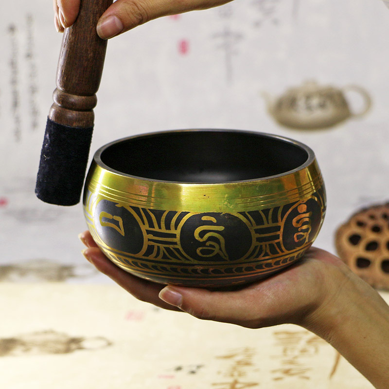 Handmade Nepalese Bowl Tibetan Buddha Singing Bowl Decorative Dishes With Mallet For Meditation Chakra Prayer Yoga Home Decor