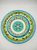 Màu xanh màu xanh lá cây totem súp tấm ở Châu Âu và cựu lớn duy nhất trái cây bát salad bát FOXHOME bộ đồ ăn gốm nước ngoài thương mại