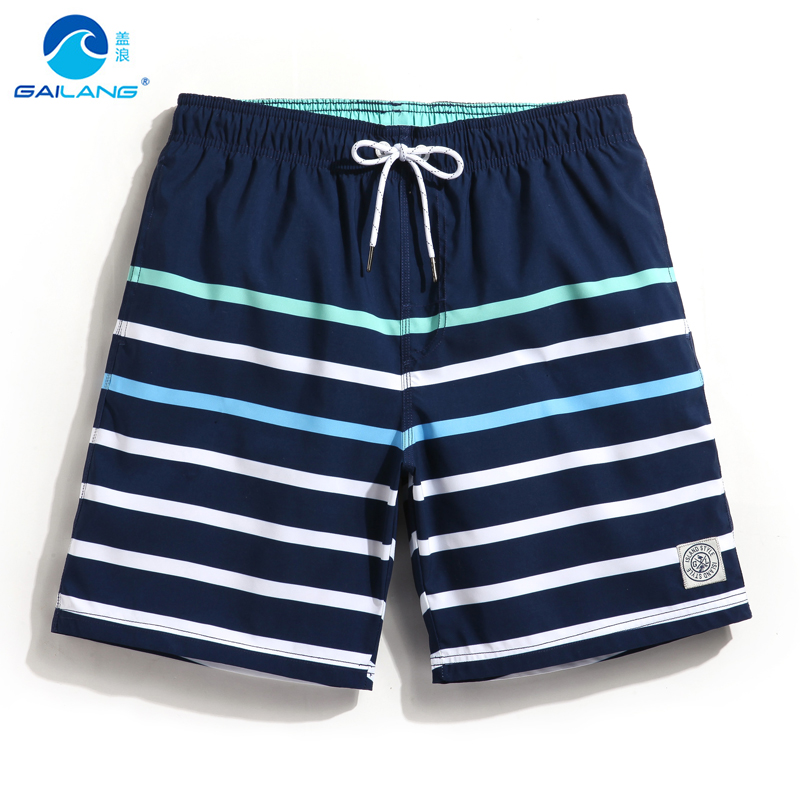 Board     shorts   men Gradient striped surf swimwear praia swim   shorts   lined swimming trunks bathing suits male loose elastic waist