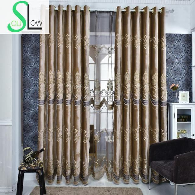 Coffee Fl Italy Cashmere Laser Embroidered Curtains Living Room Europe Cortinas For Bedroom Kitchen Luxury Curtain