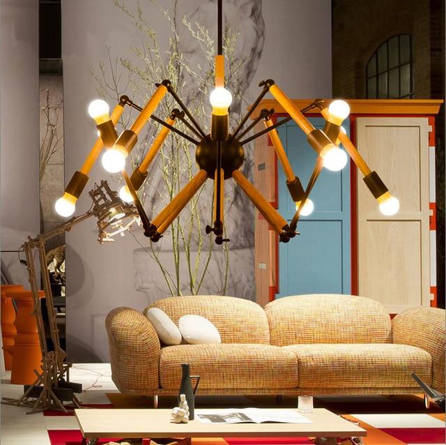 Boutiques modern hanging wood lights for art Studio DIY lamp E27 bulbs not included Vintage Bar cafe interior lights & lighting