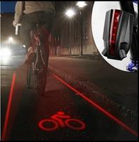 Bicycle Safety Warning Light 4 Laser 5 LED Flashing Lamp Light Rear Cycling Bicycle Bike Tail