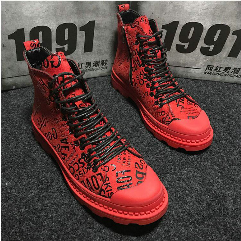 Mens army boots Casual martin boots High Top ankle Canvas Shoes Male RED Hip hop