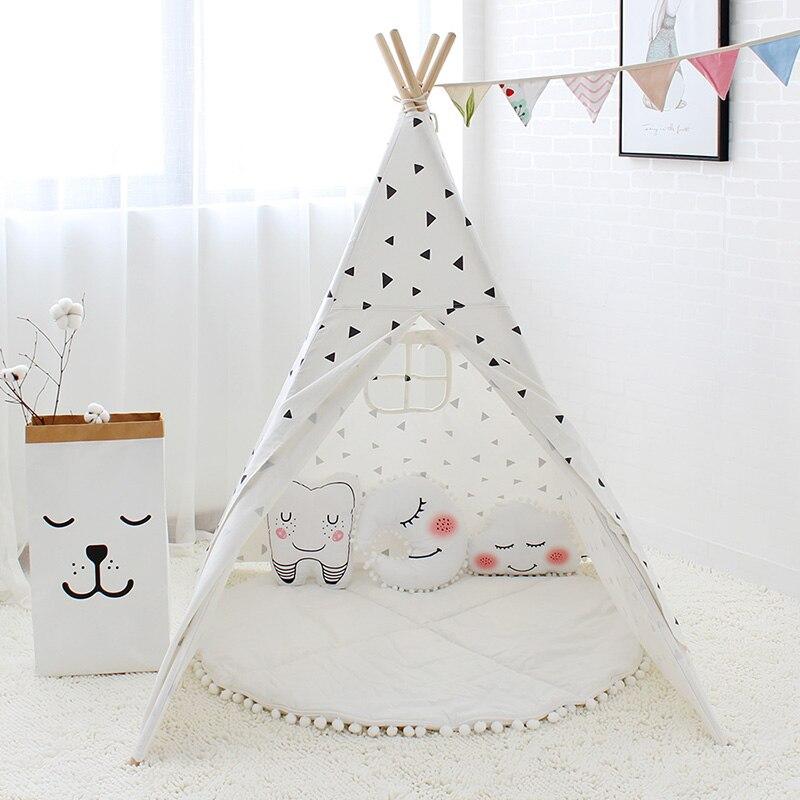 Schwarz Dreieck Gedruckt Kinder Spielen Zelt Baumwolle Leinwand Kinder Tipi Zelt für Baby Zimmer Dekoration Kinder Spielen Haus Tipi Spielzeug-in Spielzelte aus Spielzeug und Hobbys bei  Gruppe 2