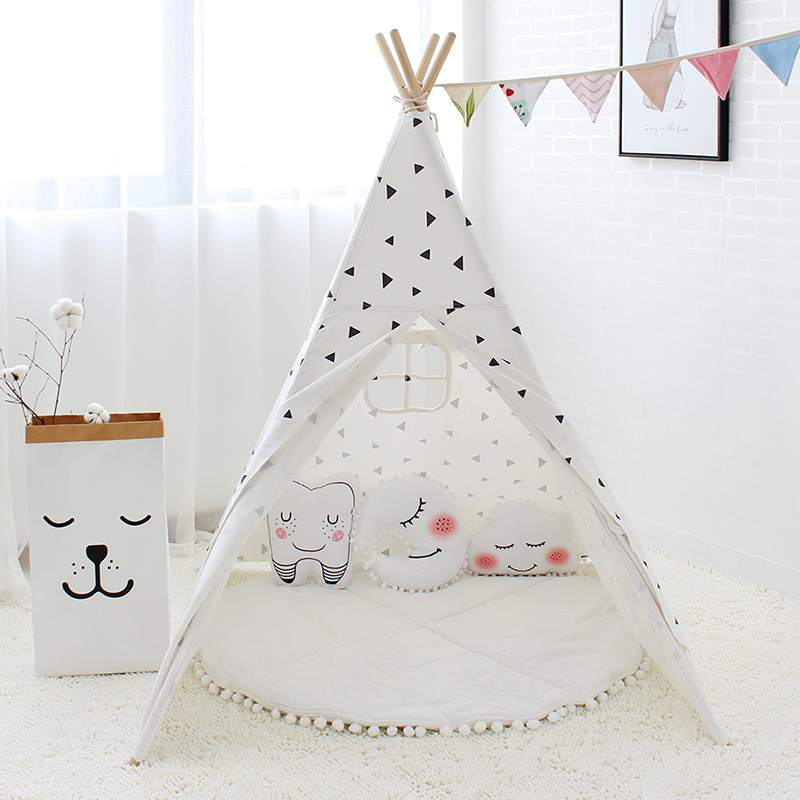 Triángulo negro impreso tienda de lona de algodón de los niños Tipi tienda para bebé decoración de la habitación de los niños casa Tipi juguete-in Tiendas de campaña de juguete from Juguetes y pasatiempos    2