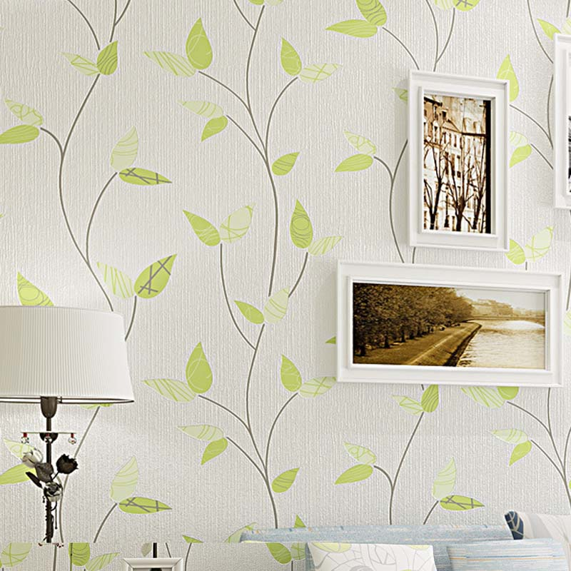 3D Modern Wallpapers Home Decor Green Leaf Wallpaper for Walls Non Woven Wall Paper Roll Background Bedroom Wallpaper Decorative 3d modern wallpapers home decor solid color wallpaper 3d non woven wall paper rolls decorative bedroom wallpaper green blue