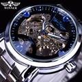 Winner Blue Ocean Fashion Casual diseñador Acero inoxidable hombres reloj esqueleto hombres relojes marca superior reloj automático de lujo