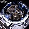 Vencedor Do Oceano Azul Designer de Moda Casuais Homens de Aço Inoxidável Relógio Esqueleto Mens Relógios Top Marca de Luxo Relógio Relógio Automático