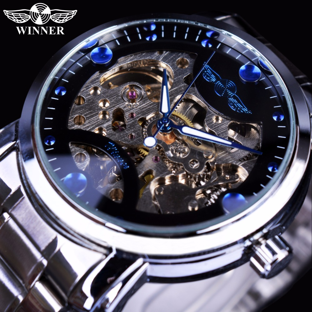 Winner Blue Ocean Fashion Casual Designer Stainless Steel Men Skeleton Watch Mens Watches Top Brand Luxury Automatic Watch Clock mce gold skeleton stainless steel designer mens watches top brand luxury automatic casual mechanical watch clock men wristwatch