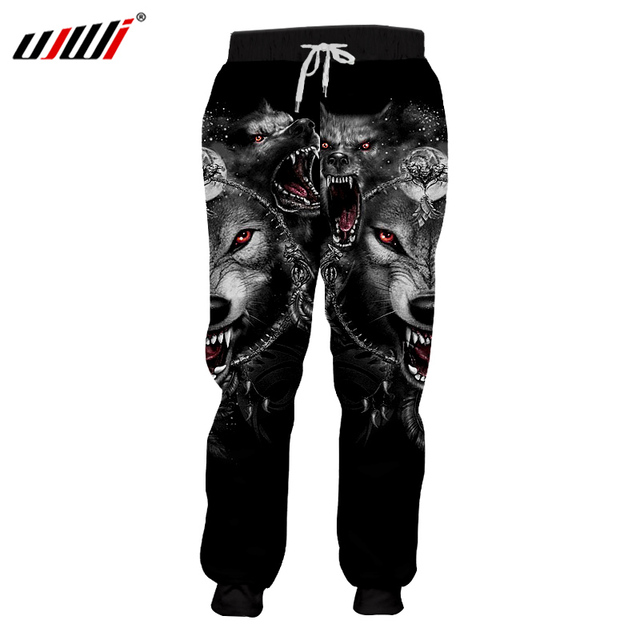 b5295270b5696 UJWI Men's Casual Sweatpants Cool Print Animal Wolf Sweat Pants Space Harem  Joggers Pants Homme Exercise Workout Boxers Trousers