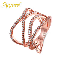 Ajojewel 6 7 8 Rose Gold Platinum Plated Bague Ring For Women Wholesale Jewelry Anniversary Gift