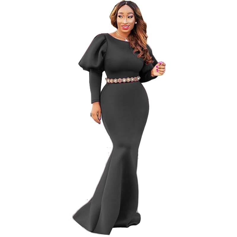 Lantern Sleeve Long Maxi Dress Elegant Knit Party Dress Slim Bodycon Long Sleve Vintage Dresses Mermaid Femme Robe Vestidos in Dresses from Women 39 s Clothing