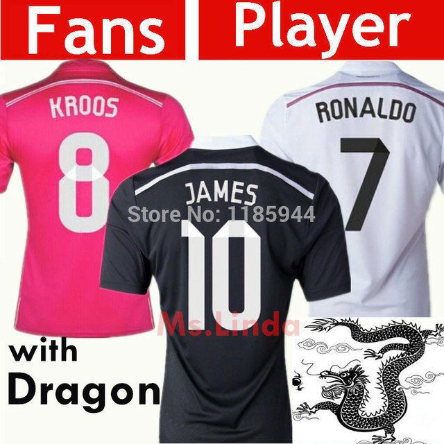 newest b9614 6258d US $17.5 |New ArriveCamisetas SERGIO RAMOS Soccer Jerseys Cristiano RONALDO  14 15 KROOS Shirt JAMES Rodriguez Jersey 2015 BALE White Pink-in Soccer ...